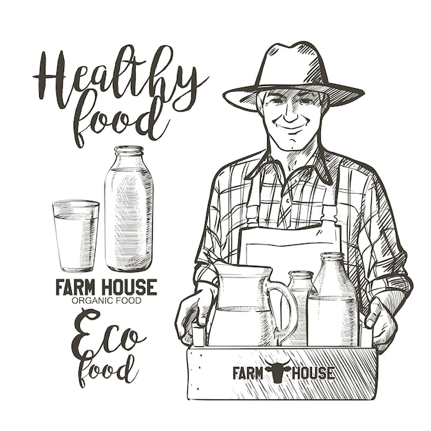 Porträt eines reifen landwirts, der voll ein glas und einen korb flaschen mit milchprodukten trägt Premium Vektoren