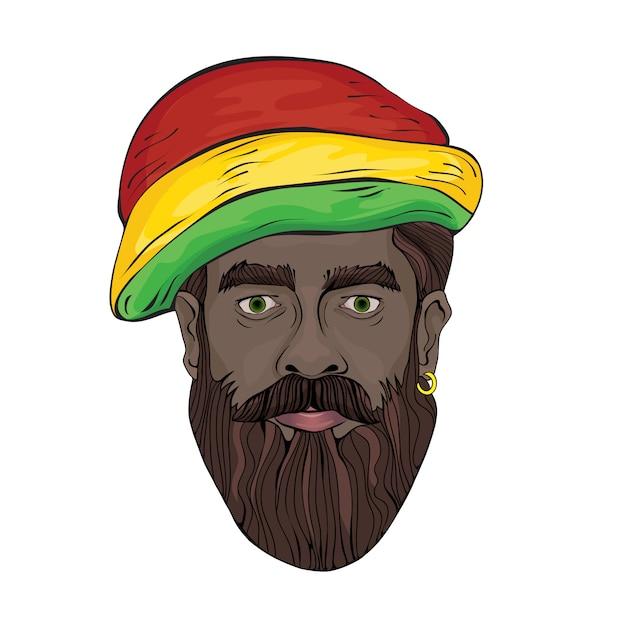 Porträt von rastaman. das gesicht des schwarzen in einem rastaman-hut. illustration auf weiß. Premium Vektoren