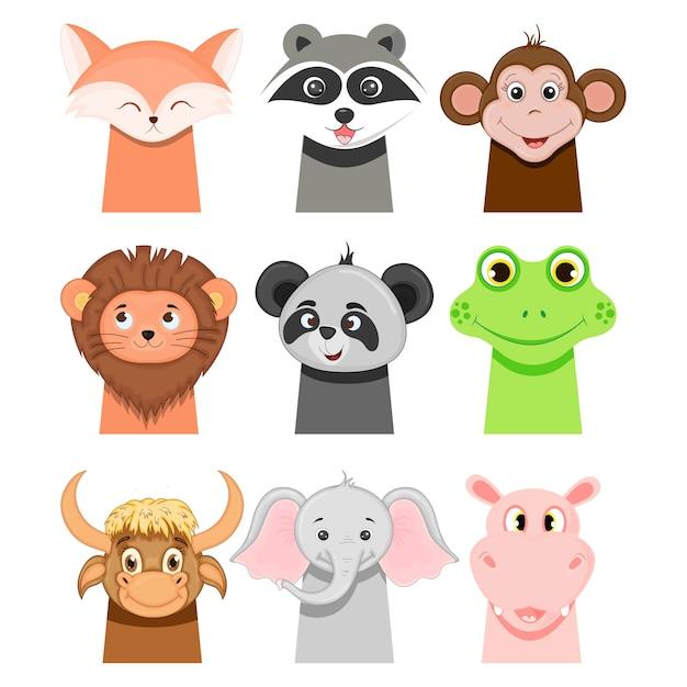 Porträts von lustigen tieren für kinder auf weiß. cartoon-stil. Premium Vektoren