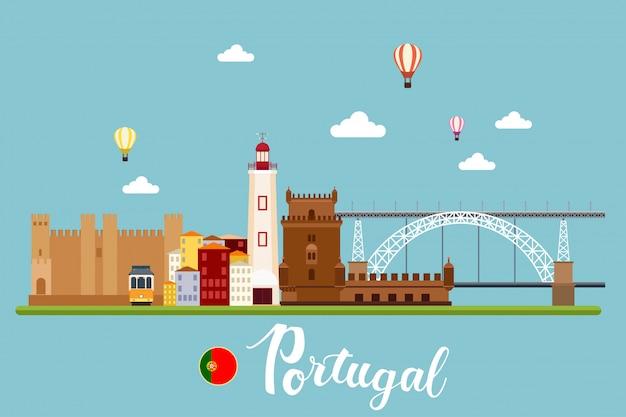Portugal-reise-landschafts-vektor-illustration Premium Vektoren