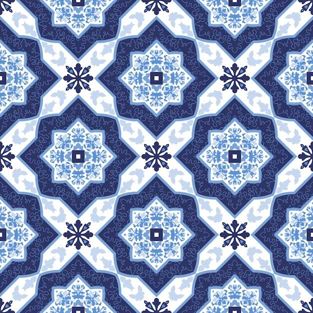 Portugiesische AzulejoFliesen Nahtlose Muster Download Der - Portugiesische fliesen azulejos
