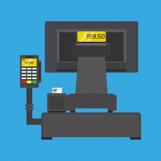 Pos-terminal kaufen business paying technology illustration Premium Vektoren