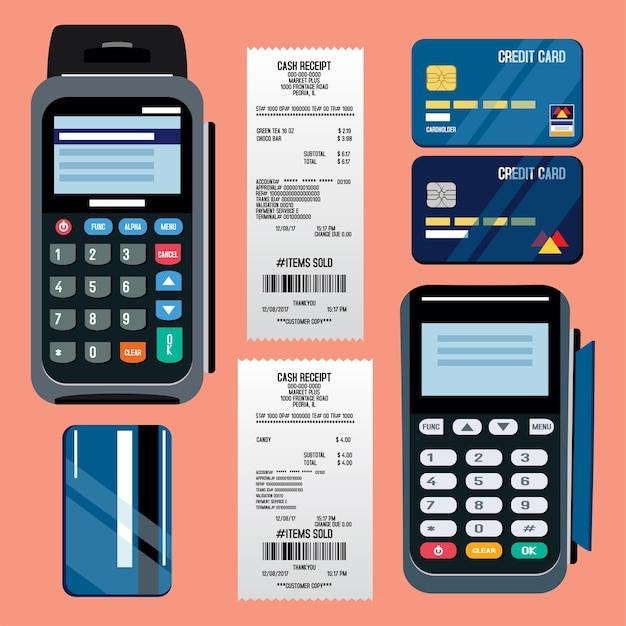 Pos-terminal mit kreditkarte und belegillustration Premium Vektoren