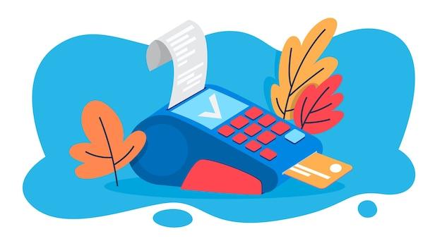 Pos-terminal zur zahlung per kreditkarte. idee von bank und shopping. gerät für debitkarte. illustration Premium Vektoren