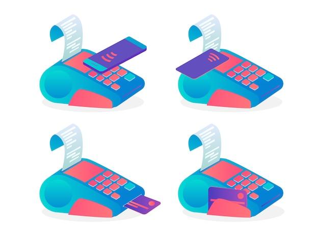 Pos-terminal zur zahlung per kreditkartenset. idee von bank und shopping. gerät für debitkarte oder handy. vektor flache illustration Premium Vektoren