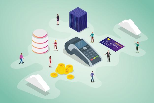 Positions-zahlungsterminalkonzept mit teamleuten und kreditkartentechnologiegeschäft mit isometrischer moderner art Premium Vektoren
