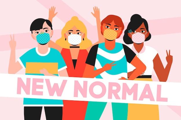 Positive menschen gegenüber der neuen normalität Kostenlosen Vektoren
