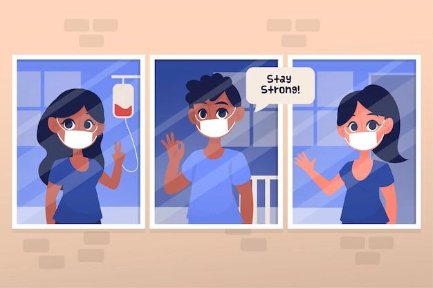 Positive patienten, die gegen das coronavirus kämpfen Kostenlosen Vektoren