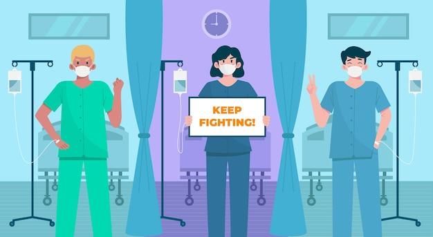 Positive patienten, die gegen das covid-19-virus kämpfen Kostenlosen Vektoren