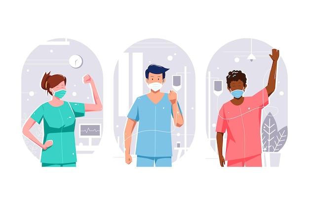 Positive patienten, die gegen die covid-19 kämpfen Kostenlosen Vektoren