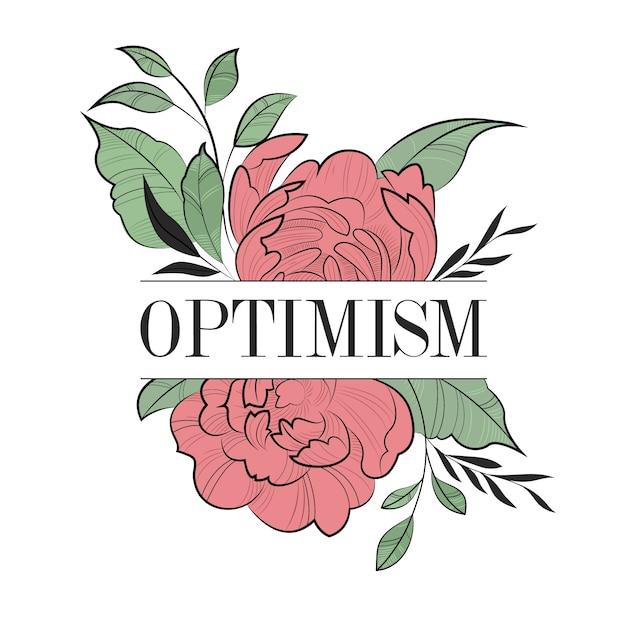 Positive typografie mit blumen Kostenlosen Vektoren