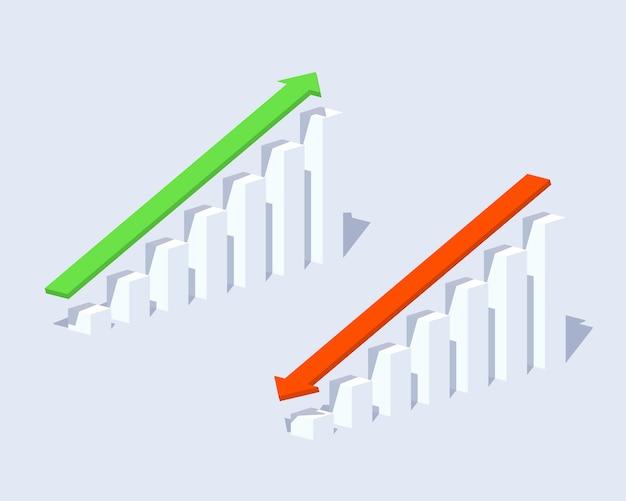 Positive und negative grafiken Premium Vektoren