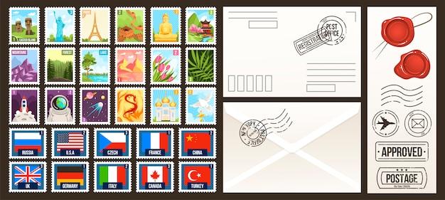 Post briefmarken illustrationen, cartoon post sammlung von briefmarken, land der welt, vintage reisen oder naturetiketten Premium Vektoren