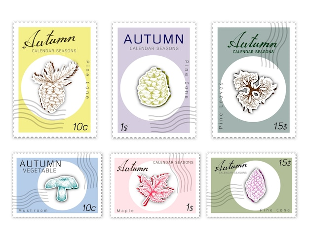 Post briefmarken set herbst pflanzen mit paper cut art Premium Vektoren