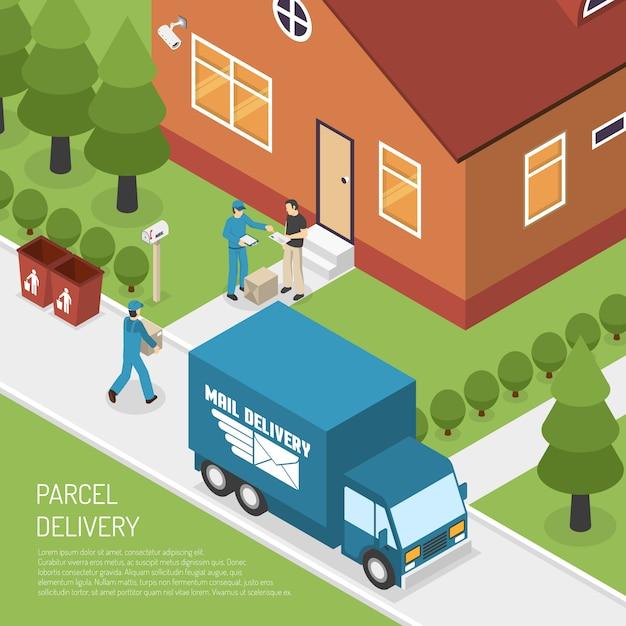 Post-paket-zustellungs-isometrisches plakat Kostenlosen Vektoren