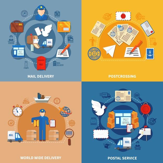 Postdienst bunte kompositionen Kostenlosen Vektoren
