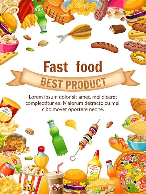 Poster fast food. Kostenlosen Vektoren
