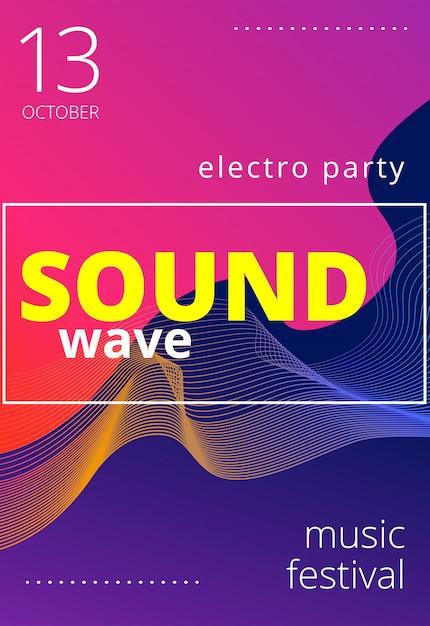 Poster für elektronische musik. moderner club party flyer. musikhintergrund der abstrakten farbverläufe. musikfest cover Premium Vektoren