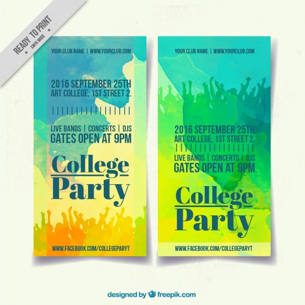 Poster mit aquarellen college party Kostenlosen Vektoren