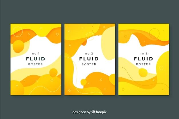 Poster-pack für flüssige formen Kostenlosen Vektoren