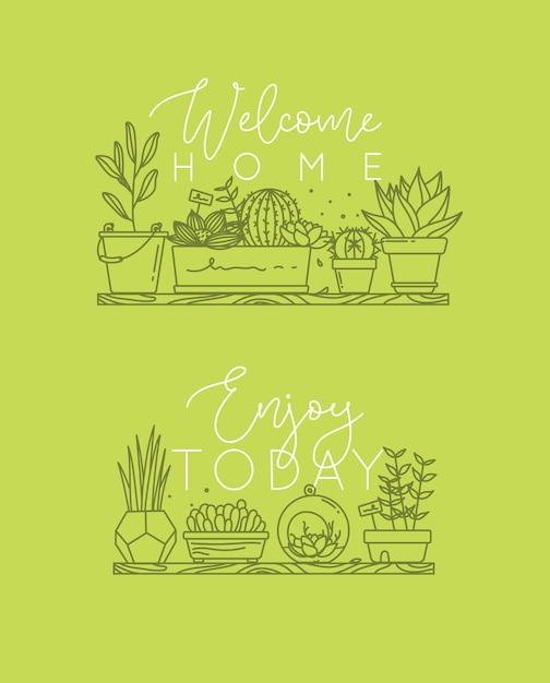 Poster schriftzug willkommen zu hause, genießen sie heute grün Premium Vektoren