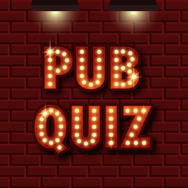 Poster zur ankündigung eines pub-quiz. wissenswertes licht Premium Vektoren
