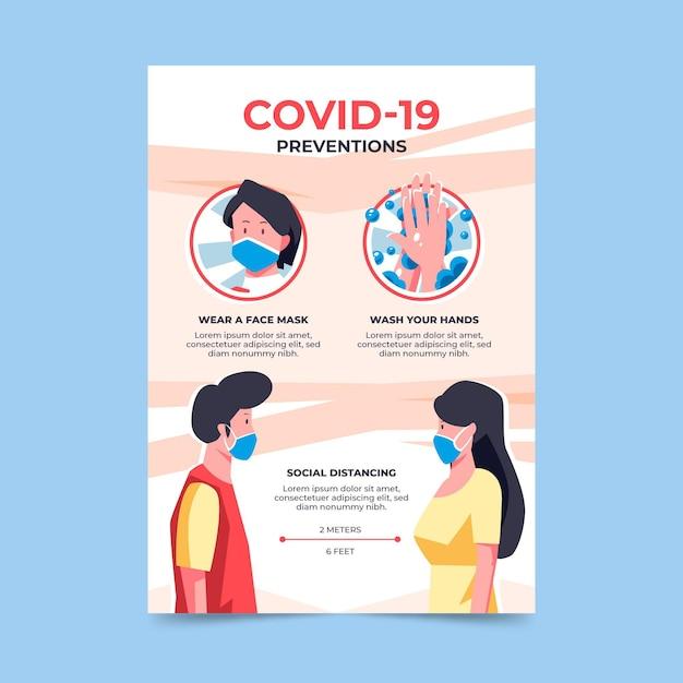 Postervorlage für coronavirus-präventionen Kostenlosen Vektoren