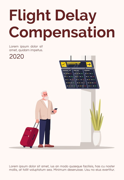 Postervorlage für flugverspätungskompensation Premium Vektoren