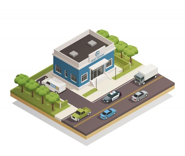 Postgebäude im freien isometrisch Kostenlosen Vektoren