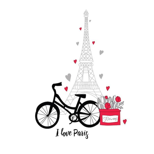Postkarte im stil von paris. eiffelturm, fahrrad, blumen und herzen. Premium Vektoren