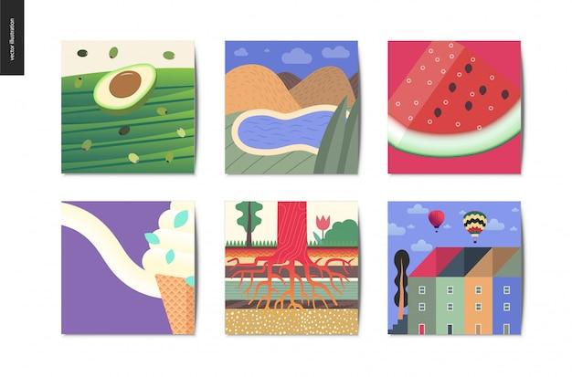 Postkarten-sammlung Premium Vektoren