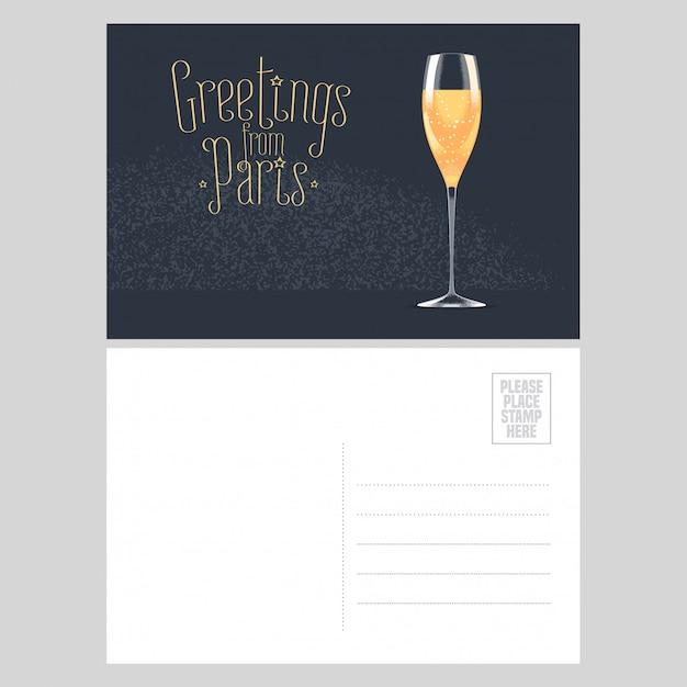 Postkartenentwurf frankreich, paris mit glas französischem champagner. schablonenillustration, element, nichtstandardisierte postpostkarte mit copyspace, poststempel und grüße vom pariser zeichen Premium Vektoren