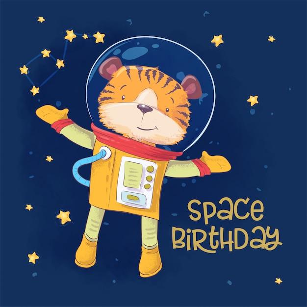 Postkartenplakat des netten astronautentigers im raum mit konstellationen und sternen in der karikaturart. Premium Vektoren