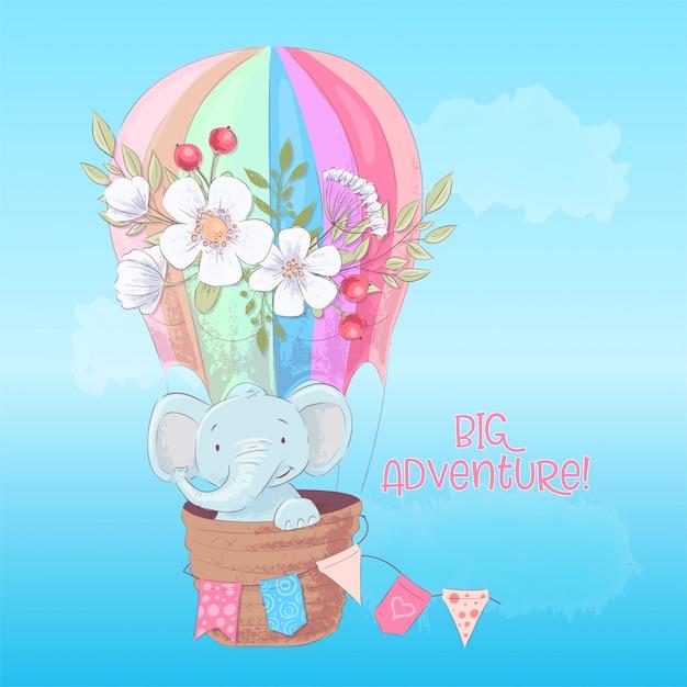Postkartenplakat eines niedlichen elefanten in einem ballon mit blumen in der cartoonart. Premium Vektoren