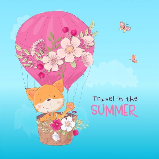 Postkartenplakat eines niedlichen fuchses in einem ballon mit blumen in der cartoonart. Premium Vektoren