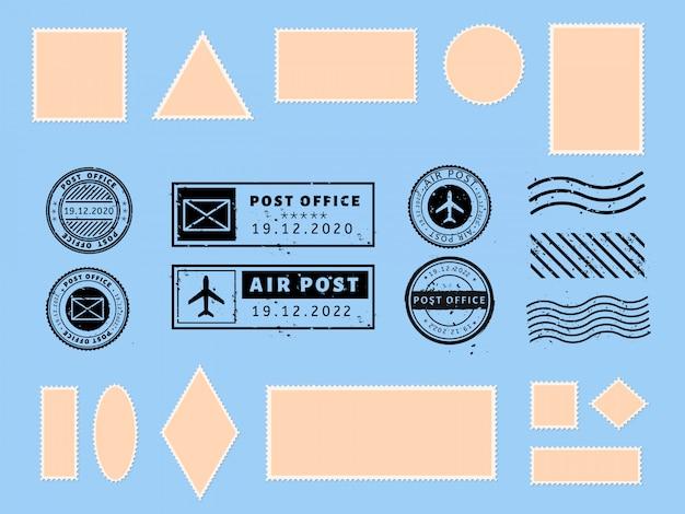 Postkartenstempel. papierpostkarten und air boarder-briefmarkenrahmen, passvisum international angekommen briefmarken und philatelistische postkarten vorlage illustration set. leere portoaufkleber. poststempel Premium Vektoren