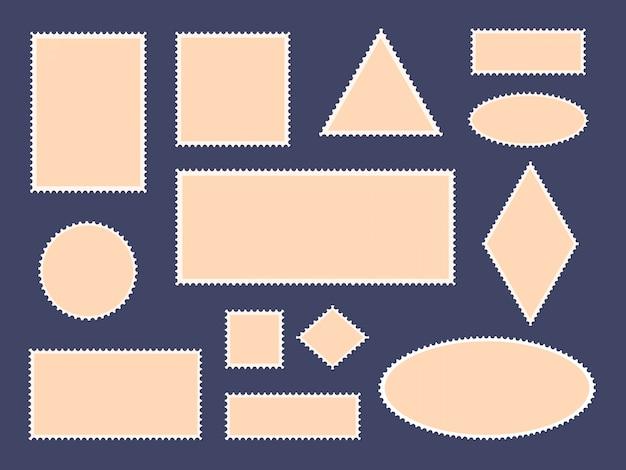Postkartenstempelrahmen. briefmarken grenze, leere papierpostkarten und briefmarkenrahmen, philatelistische karten icon set. leeres briefumschlagpostquadrat, runde aufklebersammlung Premium Vektoren