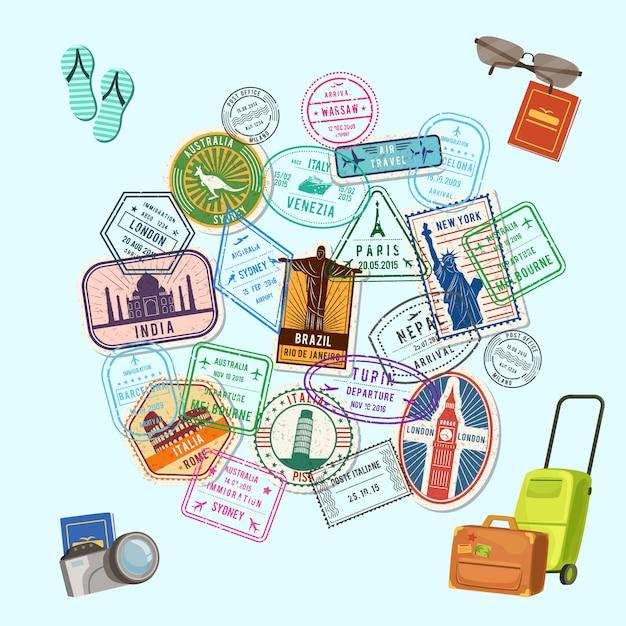 Poststempel und einreisestempel auf der ganzen welt und comic-gepäck, kamera und flip-flops, Premium Vektoren