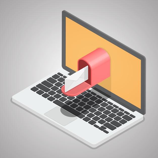 Postzustellung vom computer laptop Premium Vektoren