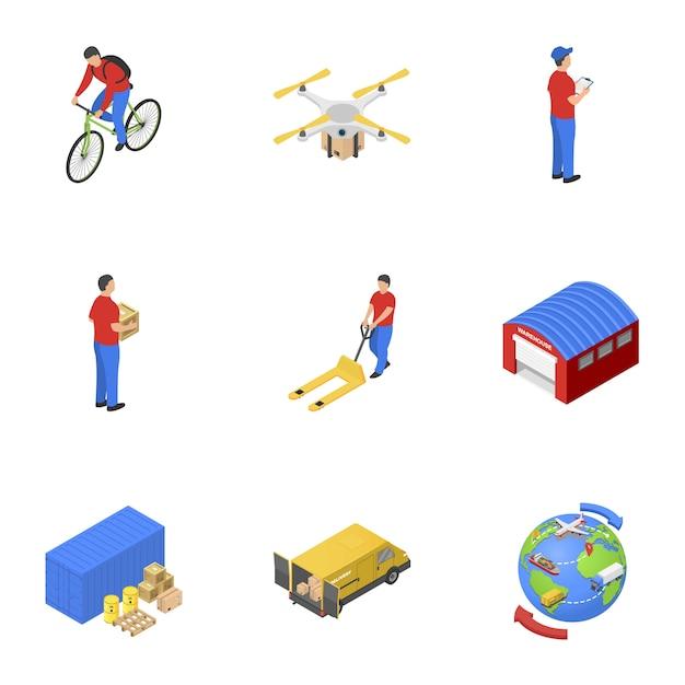 Postzustellungsikonen eingestellt, isometrische art Premium Vektoren