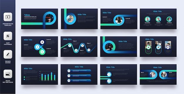 Powerpoint-vorlage für moderne technologieunternehmen Premium Vektoren