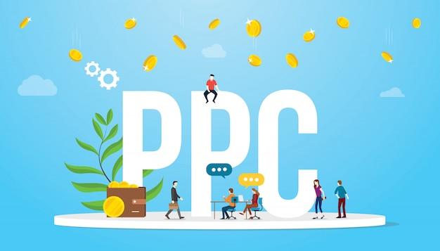 Ppc pay-per-click-konzept werbung geschäftspartner mit großen worten Premium Vektoren
