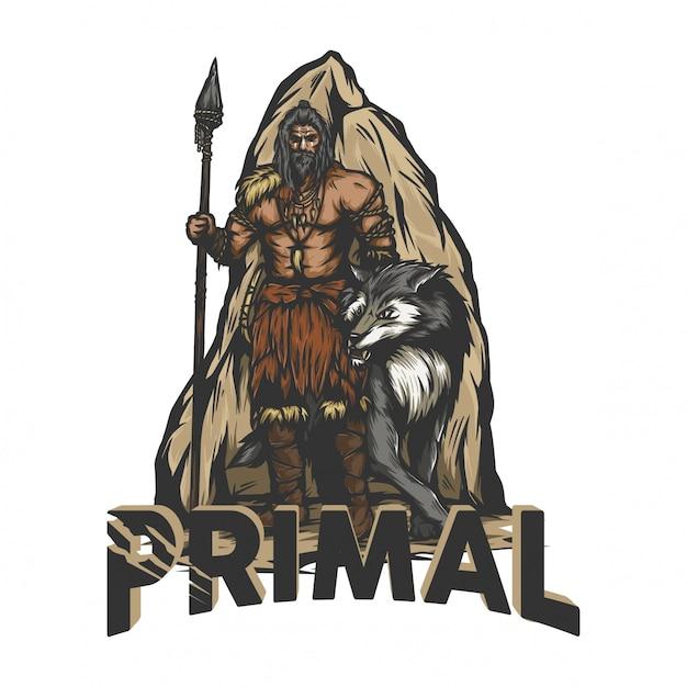 Prähistorischer krieger, der mit einem wolf steht Premium Vektoren