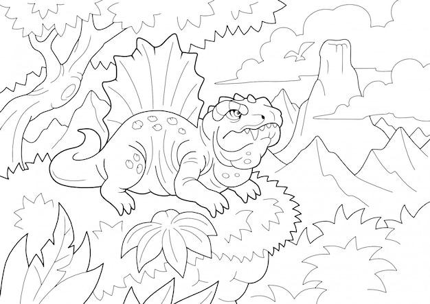 Prähistorisches räuberisches dinosaurier-dimetrodon, malbuch, lustige illustration Premium Vektoren