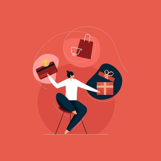 Prämien- und bonuspunkteprogramm, kunden verdienen geschenke Premium Vektoren