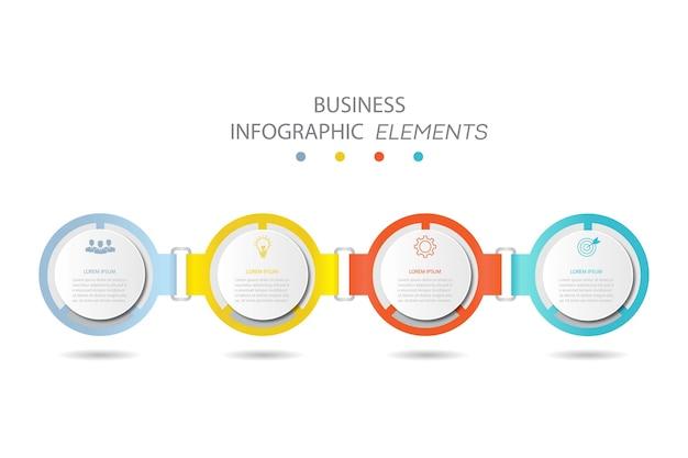 Präsentation business infografiken vorlage mit 4 optionen Premium Vektoren