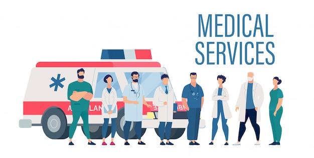 Präsentation des medizinischen dienstes mit dem krankenhauspersonal Premium Vektoren