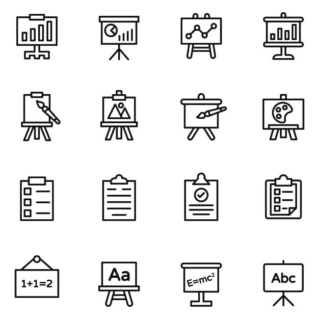 Präsentation und boards icons pack Premium Vektoren