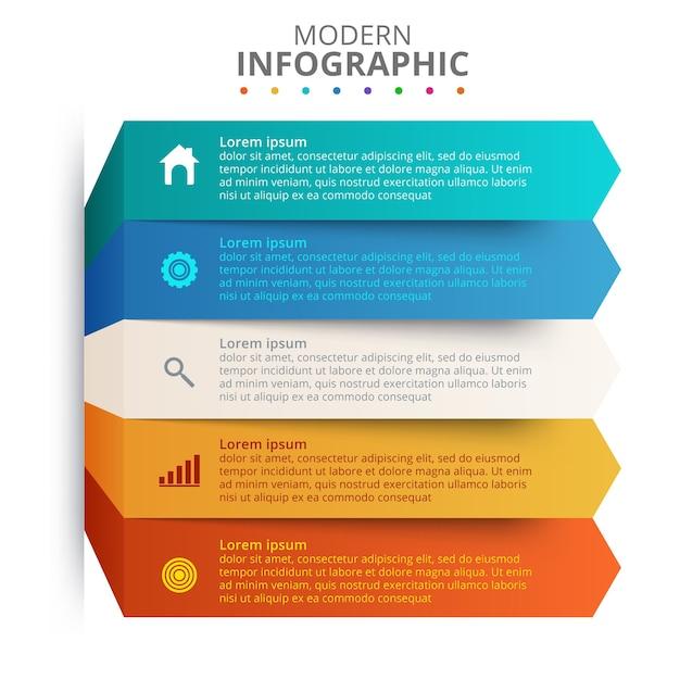 Präsentationsgeschäft infografik vorlage mit 5 optionen Kostenlosen Vektoren