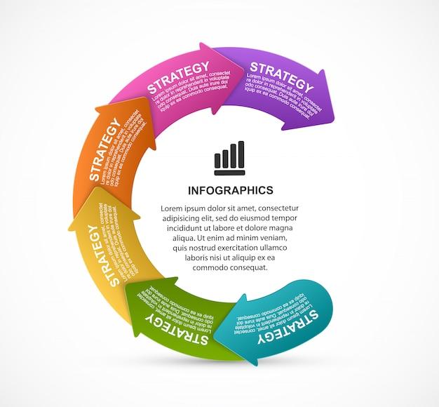 Präsentationsinfografiken mit einem abgebildeten pfeil in einem kreis. Premium Vektoren